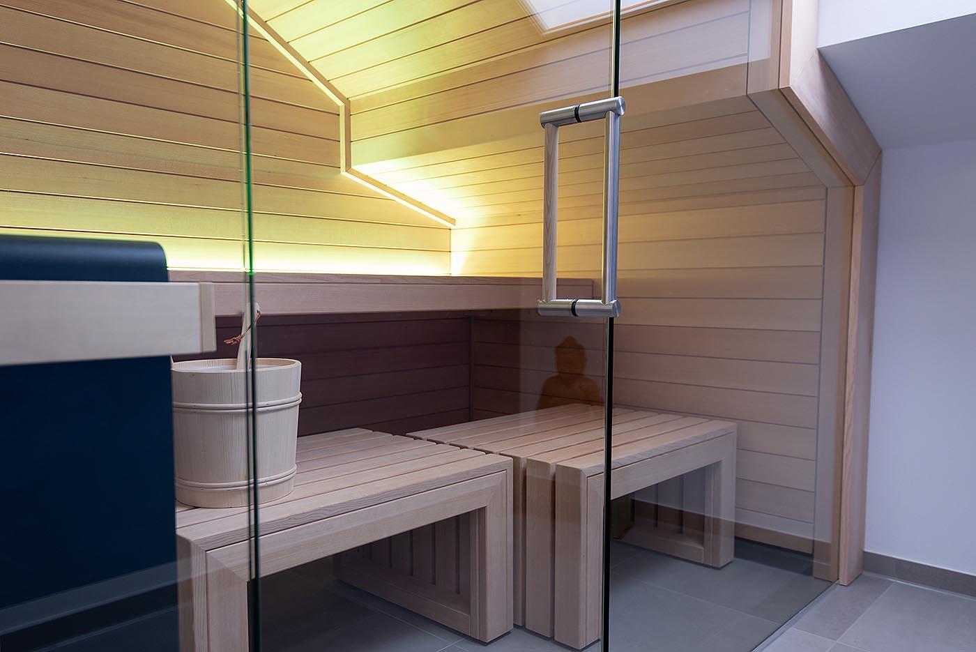 Sauna With Sloping Roof Custom Made Design Corso Sauna
